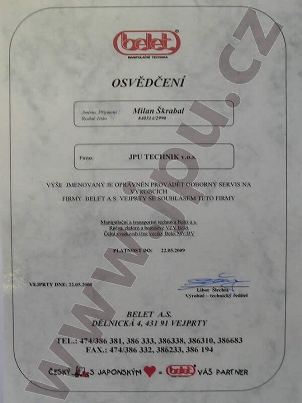 JPU TECHNIK v.o.s. | Certifikáty